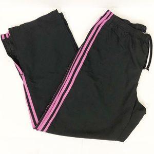 ADIDAS black pink mesh lined run pants size L